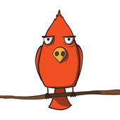 Funny red cartoon bird. Vector illustration — Vector de stock