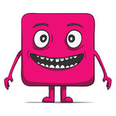 Funny cube dude. Square character. Vector illustration — Stock Vector
