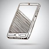 Smartphone kroki. vektör çizim — Stok Vektör