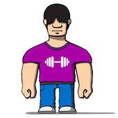 Funny cartoon strongman. Vector illustration — Stock Vector