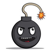 Funny evil cartoon bomb ready to explode. Vector illustration — Stock Vector
