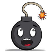 Funky cartoon bomb ready to explode. Vector illustration — Stock Vector
