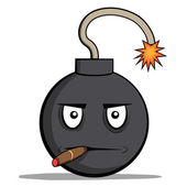 Funny cartoon bomb with cigar. Vector illustration — Wektor stockowy