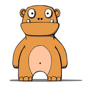 Funny cartoon bear monster. Vector illustration — 图库矢量图片
