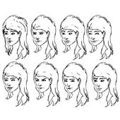 Girl face expressions sketches. Vector illustration — Vettoriale Stock