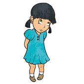 Cute sad guilty little girl in blue dress. Cartoon illustration — Stock Vector