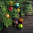 Christmas decoration on wooden background. — Stock Photo