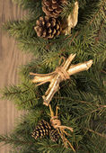 Christmas decoration on wooden background. — Stock Photo