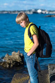 Teenager boy with a backpack. — Stock Photo