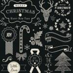 conjunto de la Navidad del doodle pizarra — Vector de stock  #35485263