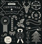 Christmas doodle chalkboard set — Stock Vector