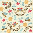 cute insects and flowers — Imagen vectorial