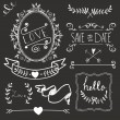 Chalkboard Wedding graphic set — Stock Vector