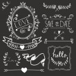 Stock Vector: Chalkboard Wedding graphic set