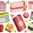 Stock Vector: Christmas present boxes.