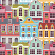 Stock Vector: Pattern with colorful houses