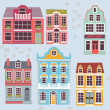 Cartoon detailed London houses — Stock Vector