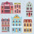 Stock Vector: Cartoon detailed London houses