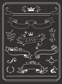 Chalkboard Wedding graphic set — Stock Vector