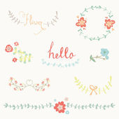 Hand-draw graphic flower set — Stock Vector