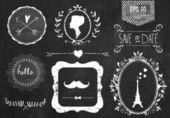 Retro chalk elements — 图库矢量图片