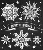 Vector set of chalk grunge snowflakes. — Vetorial Stock