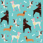 Cute seamless dogs pattern — Stock Vector