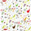 Seamless pattern background with birds and flower — Imagen vectorial
