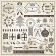 Vintage Christmas Hand Drawn Vector Set — Stock Vector