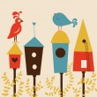Birds and starling houses vector illustration — Vektorgrafik