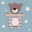 Stock Vector: Cute baby bear blue greeting card. vector illustration