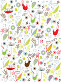 Seamless pattern background with birds and flower — Stock Vector