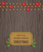 Wooden background with a vintage typography sign and Christmas fir tree — Stock Vector
