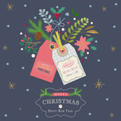 Christmas greeting card with gift tags and and branches, flowers — Wektor stockowy