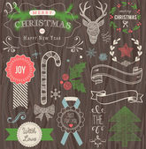 Christmas Hand Drawn Vector Set on wooden background — Stock Vector