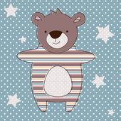 Cute baby bear blue greeting card. vector illustration — Stock Vector