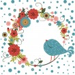 Vector floral frame with bird — Vektorgrafik