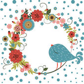 Vector floral frame with bird — Stock vektor