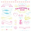 Valentine's Day and Wedding graphic set, arrows, hearts, laurels — Stock Vector