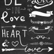 Chalk board hand drawn calligraphy set - love and heart — Stock Vector #40203465