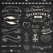 Chalk Valentine's day design elements — Stock Vector