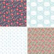 Set of floral seamless pattern — Stock Vector