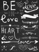 Chalk board hand drawn calligraphy set - love and heart — Vector de stock