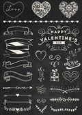 Chalk Valentine's day design elements — Stock Vector