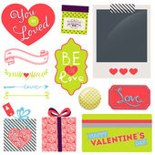 Dia dos namorados e casamento conjunto gráfico — Vetor de Stock