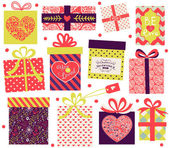 Collection of Valentine's Day present boxes — Stock Vector