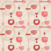 Seamless pattern with cup of tea — Stock Vector