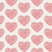 Seamless pattern with hand drawn Valentine hearts — Vecteur