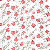 Naadloze patroon met rode bloemen en tak — Stockvector