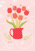 Spring vector greeting card with tulips — Stock Vector